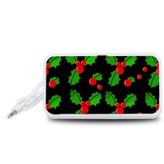 Christmas berries pattern  Portable Speaker (White)