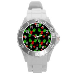 Christmas berries pattern  Round Plastic Sport Watch (L)