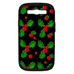 Christmas berries pattern  Samsung Galaxy S III Hardshell Case (PC+Silicone)