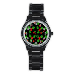 Christmas berries pattern  Stainless Steel Round Watch
