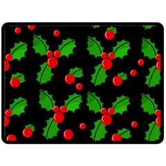 Christmas berries pattern  Double Sided Fleece Blanket (Large)