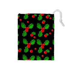 Christmas berries pattern  Drawstring Pouches (Medium)