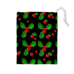 Christmas Berries Pattern  Drawstring Pouches (large)