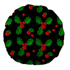 Christmas berries pattern  Large 18  Premium Flano Round Cushions