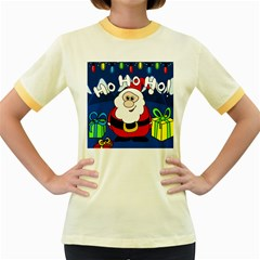Santa Claus  Women s Fitted Ringer T-Shirts