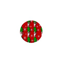 Christmas tree pattern - red 1  Mini Buttons