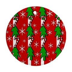 Christmas tree pattern - red Ornament (Round)