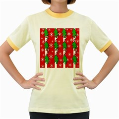 Christmas tree pattern - red Women s Fitted Ringer T-Shirts