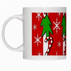 Christmas tree pattern - red White Mugs