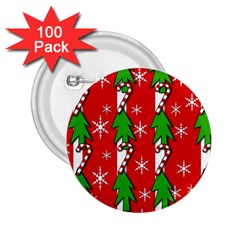 Christmas tree pattern - red 2.25  Buttons (100 pack)