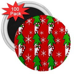 Christmas tree pattern - red 3  Magnets (100 pack)