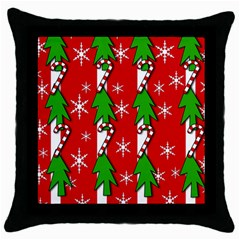Christmas tree pattern - red Throw Pillow Case (Black)