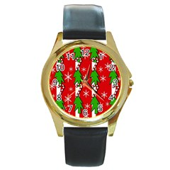 Christmas tree pattern - red Round Gold Metal Watch