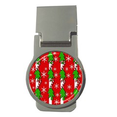 Christmas tree pattern - red Money Clips (Round)