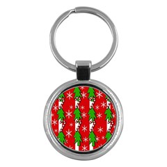 Christmas tree pattern - red Key Chains (Round)