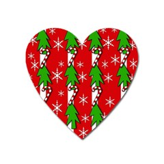Christmas tree pattern - red Heart Magnet