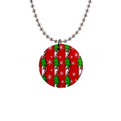Christmas tree pattern - red Button Necklaces