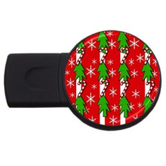 Christmas tree pattern - red USB Flash Drive Round (4 GB)