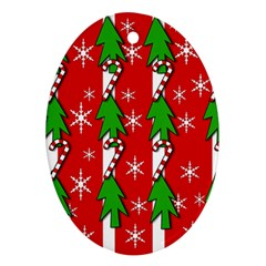 Christmas tree pattern - red Oval Ornament (Two Sides)