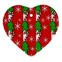Christmas tree pattern - red Heart Ornament (2 Sides)