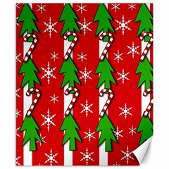 Christmas tree pattern - red Canvas 8  x 10