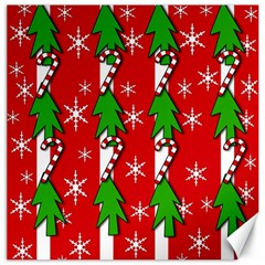 Christmas tree pattern - red Canvas 16  x 16