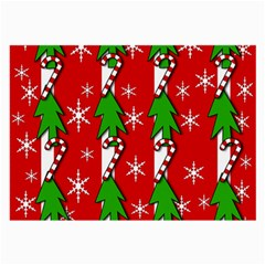 Christmas tree pattern - red Large Glasses Cloth