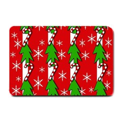 Christmas tree pattern - red Small Doormat