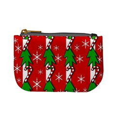 Christmas tree pattern - red Mini Coin Purses