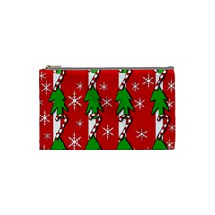 Christmas tree pattern - red Cosmetic Bag (Small)