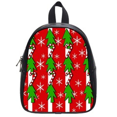 Christmas tree pattern - red School Bags (Small)