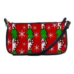 Christmas tree pattern - red Shoulder Clutch Bags