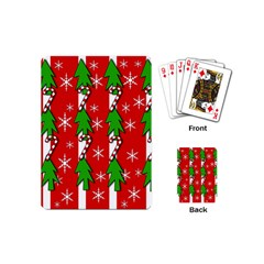 Christmas tree pattern - red Playing Cards (Mini)