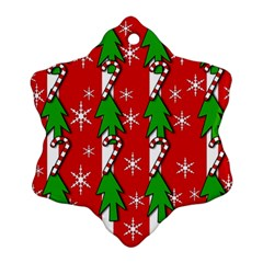 Christmas tree pattern - red Snowflake Ornament (2-Side)