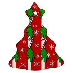 Christmas tree pattern - red Christmas Tree Ornament (2 Sides)