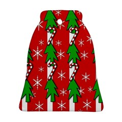 Christmas tree pattern - red Bell Ornament (2 Sides)
