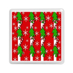 Christmas tree pattern - red Memory Card Reader (Square)