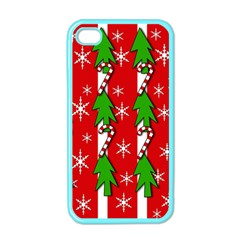 Christmas tree pattern - red Apple iPhone 4 Case (Color)