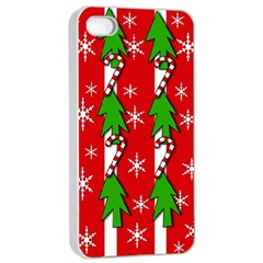 Christmas tree pattern - red Apple iPhone 4/4s Seamless Case (White)