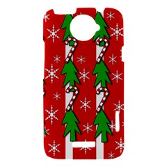 Christmas tree pattern - red HTC One X Hardshell Case