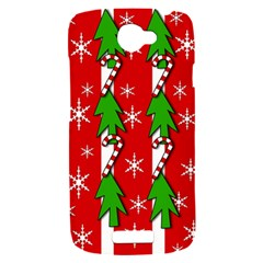 Christmas tree pattern - red HTC One S Hardshell Case