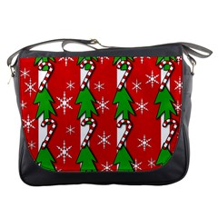 Christmas tree pattern - red Messenger Bags