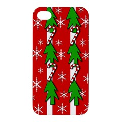Christmas tree pattern - red Apple iPhone 4/4S Premium Hardshell Case