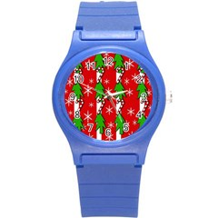 Christmas tree pattern - red Round Plastic Sport Watch (S)