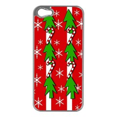 Christmas tree pattern - red Apple iPhone 5 Case (Silver)