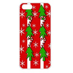 Christmas tree pattern - red Apple iPhone 5 Seamless Case (White)