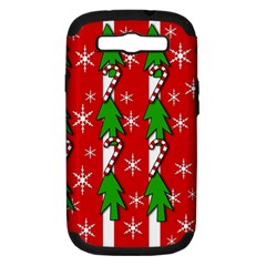 Christmas tree pattern - red Samsung Galaxy S III Hardshell Case (PC+Silicone)