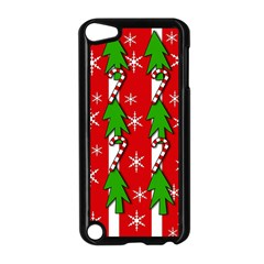 Christmas tree pattern - red Apple iPod Touch 5 Case (Black)