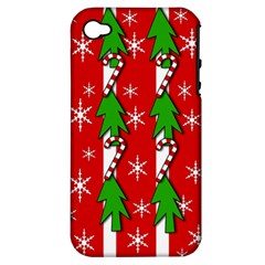 Christmas tree pattern - red Apple iPhone 4/4S Hardshell Case (PC+Silicone)
