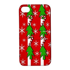 Christmas tree pattern - red Apple iPhone 4/4S Hardshell Case with Stand